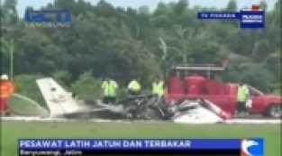 Pesawat Latih Jatuh di Bandara Blimbingsari Banyuwangi