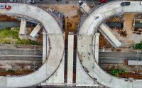 Keren, Foto Udara Desain Tapal Kuda Flyover Lenteng Agung dan Tanjung Barat