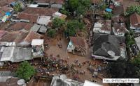 Foto Udara Lokasi Banjir Bandang di Cicurug Sukabumi