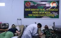 Yonif Raider 514 Kostrad Gelar Donor Darah di Kantor PMI Bondowoso