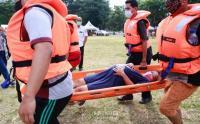 Warga Karet Tengsin Simulasi Penanganan Bencana dengan Penerapan Protokol Kesehatan