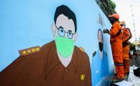 Mural Gubernur Anies Sambut HUT DKI Jakarta Ke-494 di Halim Perdanakusuma