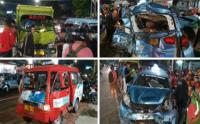 Truk Muatan Batu Habel, Tabrak Puluhan Taksi dan Angkot