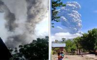 Detik-Detik warga Berhamburan saat Gunung Ile Lewotolok NTT Erupsi