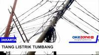Tiang Listrik Tumbang Tersangkut Truk Tronton di Matraman