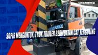 Sopir Mengantuk, Truk Trailer Bermuatan Cat Terguling