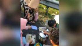 Viral Sekeluarga Asyik Makan di Bahu Jalan Tol Cipali