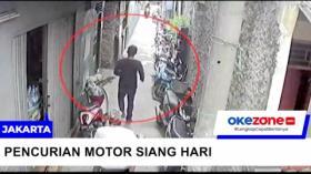 Rekaman CCTV Maling Curi Motor di Cilincing Siang Hari