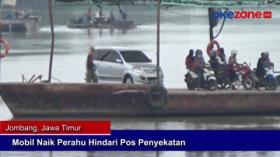 Mobil Naik Perahu Hindari Pos Penyekatan