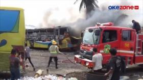 2 Bus Terbakar saat Proses Pengelasan