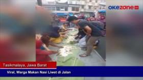 Viral, Warga Makan Nasi Liwet di Jalan