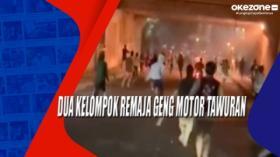 Dua Kelompok Remaja Geng Motor Tawuran di Cipayung Jaktim