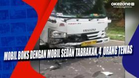 Mobil Boks dengan Mobil Sedan Tabrakan, 4 Orang Tewas