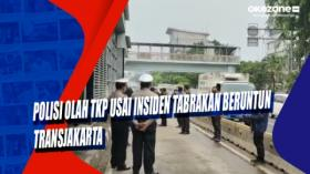 Polisi Olah TKP Usai Insiden Tabrakan Beruntun Transjakarta