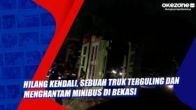 Hilang Kendali, Sebuah Truk Terguling dan Menghantam Minibus di Bekasi