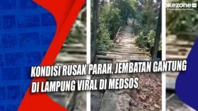 Kondisi Rusak Parah, Jembatan Gantung di Lampung Viral di Medsos