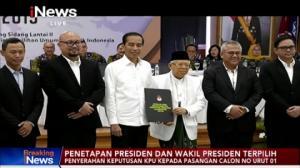 KPU Tetapkan Jokowi-Ma'ruf Amin sebagai Presiden-Wapres Terpilih 2019-2024