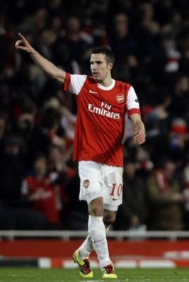Robin van Persie usai mencetak pertama untuk Arsenal