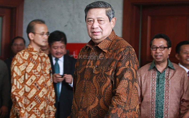 Presiden RI Susilo Bambang Yudhoyono tiba di gedung Mahkamah Konstitusi.