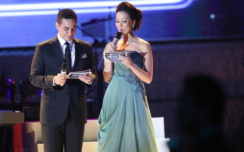 Ferdy Hasan dan Imelda Fransisca saat acara perayaan pernikahan Hary Tanoesoedibjo dan Liliana Tanaja yang ke-25.