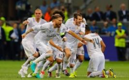 Ekspresi pemain Real Madrid saat Cristiano Ronaldo mencetak gol.