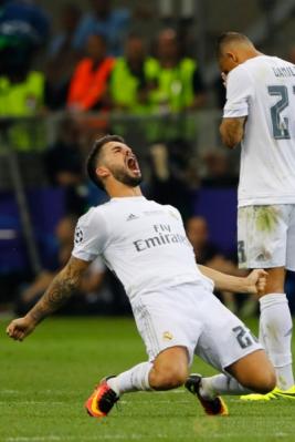 Ekspresi dan selebrasi pemain Real Madrid setelah mencetak gol.