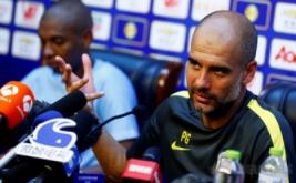 Pelatih Manchester City Pep Guardiola menjawab pertanyaan wartawan di Olympic Sports Centre, Beijing, China, Minggu (24/7/2016). Manchester City akan melakoni laga International Champions Cup (ICC) 2016 kontra rival sekota, Manchester United, Senin 25 Juli 2016.