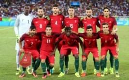 Skuad Portugal berpose sebelum melawan Argentina pada laga perdana Grup D Olimpiade 2016 di Olympic Stadium, Jumat (5/8/2016) dini hari WIB.