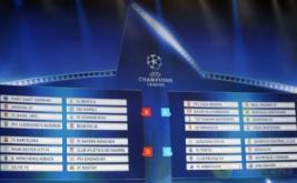 Layar menunjukkan hasil undian fase grup Liga Champions 2016-2017 di Monaco, Kamis (25/8/2016) waktu setempat.