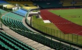 Suasana Stadion Patriot Candrabhaga di Bekasi, Jabar, Kamis (1/9/2016). Stadion Patriot Candrabhaga dengan kapasitas 30 ribu penonton itu menjadi tempat pertandingan sepak bola pada PON XIX Jabar 2016.
