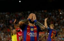 Ekspresi Aleix Vidal pada pertandingan Barcelona vs Alaves di Stadion Camp Nou, Barcelona, Spanyol, Minggu (11/9/2016). Tuan rumah Barcelona harus kalah dengan tim promosi dengan skor 2-1.