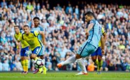 Sergio Aguero gagal mencetak gol dari eksekusi penalti pada kedelapan Liga Inggris 2016-2017, Sabtu (15/10/2016) malam WIB.