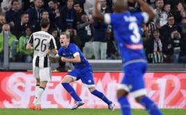 Jakub Jankto selebrasi usai mencetak gol ke gawang Juventus pada menit 31.