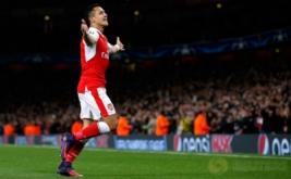 Alexis Sanchez selebrasi usai mencetak gol ke gawang klub asal Bulgaria Ludogorets Razgrad pada babak penyisihan Liga Champions di Stadion Emirates, London, Inggris, Kamis (20/10/2016) dini hari WIB.