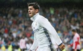 Alvaro Morata selebrasi usai mencetak gol ke gawang Athletic Bilbao.