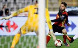 Dries Mertens mencetak gol ke gawang Estonia pada lanjutan kualifikasi Piala Dunia 2018 di Stadion King Baudouin, Senin (14/11/2016) dini hari WIB. (REUTERS/Francois Lenoir)