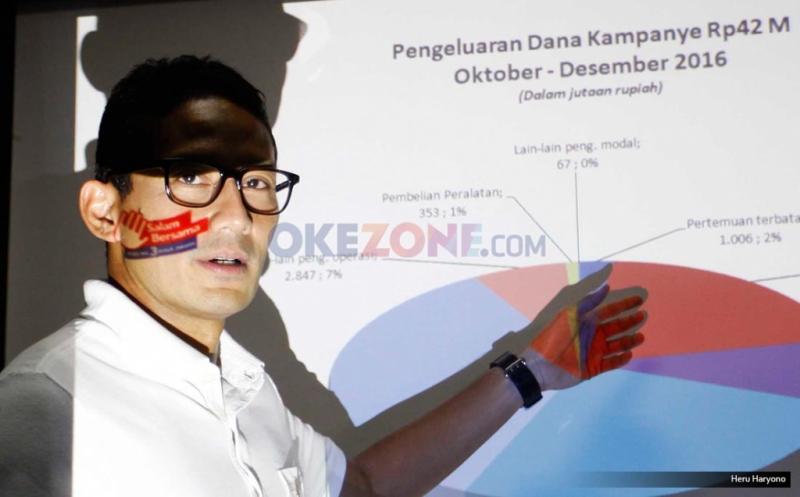 Cawagub Sandiaga Uno memberi keterangan perihal transparasi dana kampanye di Jakarta, Kamis (12/1/2017). Dana kampanye yang sudah masuk dalam anggaran pasangan yang diusung Partai Gerindra dan PKS itu hingga 31 Desember 2016 mencapai Rp46,7 miliar. Sandiaga sendiri sudah mengeluarkan dana kampanye dari kantong sendiri mencapai Rp44,8 miliar.