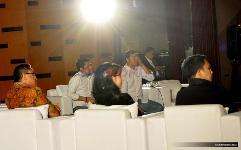 Suasana debat artis pendukung cagub DKI Jakarta 2017 di Sinema Hall, Gedung Pusat Perfilman Haji Usmar Ismail, Jakarta, Kamis (12/1/2017). Para artis pendukung cagub DKI Jakarta memperesentasikan beberapa alasan dan aspirasi mereka untuk mendukung para calon gubernurnya tersebut.