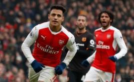 Pemain Arsenal Alexis Sanchez meluapkan kegembiraan usai mencetak gol kegawang Hull City di Emirates Stadium dalam lanjutan Liga Primer Inggris, Sabtu (11/2/2017). Arsenal menang 2-0, The Gunners pun untuk sementara naik ke urutan ketiga papan klasemen. Sementara itu, Hull masih terjebak di zona merah, tepatnya di urutan 18 dengan nilai 20.