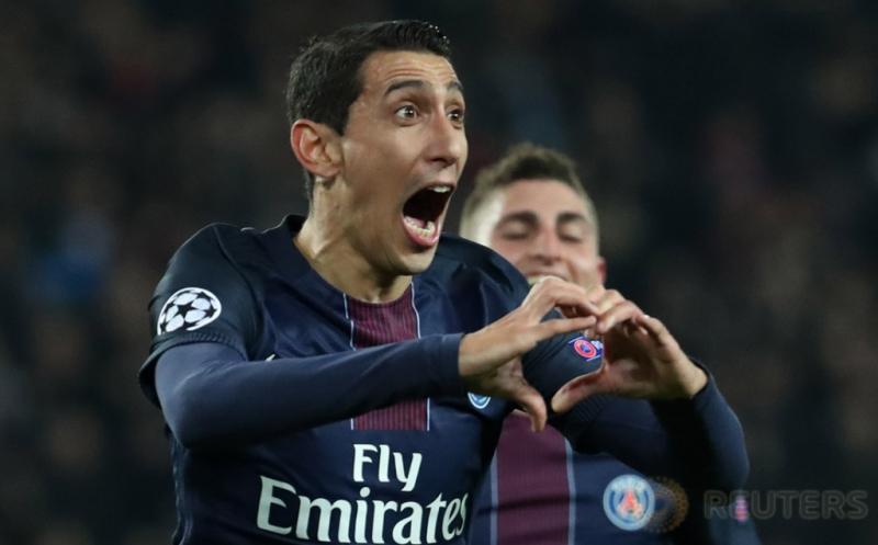 Angel Di Maria selebrasi usai mencetak gol ke gawang Barcelona. (Reuters/Christian Hartmann)