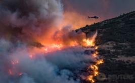 Sebuah helikopter menjatuhkan bom air atau water booming di lokasi kebakaran hutan Selandia Baru. Kebakaran tersebut mengancam permukiman warga di pinggiran Christchurch. (REUTERS/Mark Hannah)