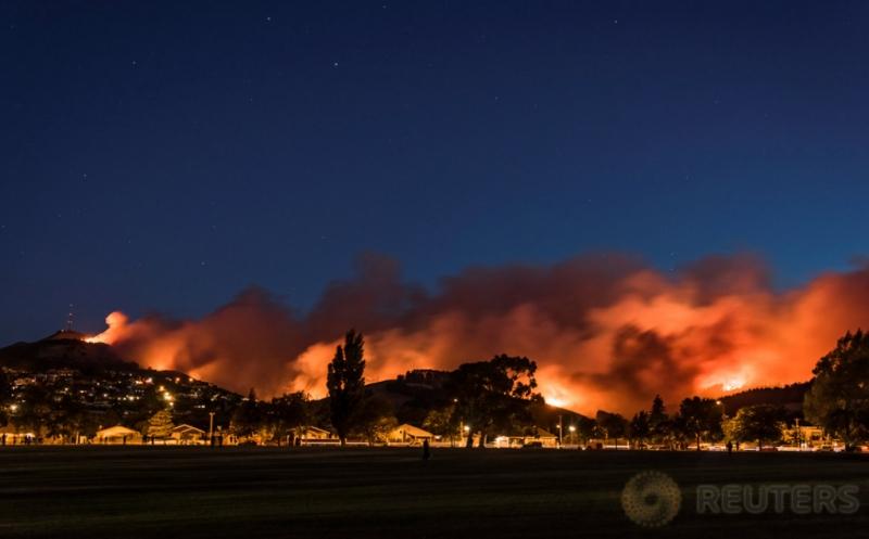 Kobaran Api dan asap tebal terlihat dari kebakaran hutan di Selandia Baru, Kamis (16/2/2017) WIB. Kebakaran tersebut mengancam permukiman warga di pinggiran Christchurch. (REUTERS/Mark Hannah)