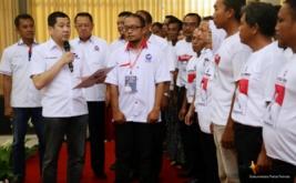 Ketua Umum Partai Perindo Hary Tanoesoedibjo melantik 222 DPRt Partai Perindo Pemalang di Pemalang, Jawa Tengah, Jumat (17/2/2017). Hary Tanoe mengajak pengurus yang baru dilantik untuk berjuang bersama-sama memajukan Pemalang dan Indonesia.
