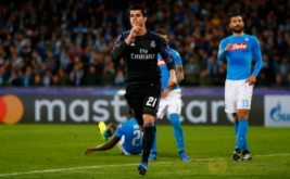 Alvaro Morata selebrasi usai mencetak gol ke gawang Napoli pada leg kedua babak 16 besar di Stadion San Paolo, Naples, Italia, Rabu (8/3/2017) dini hari WIB. (Reuters/Tony Gentile)