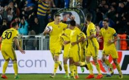 Aleksandr Bukharov (dua kiri) selebrasi usai mencetak gol ke gawang Manchester Untied pada leg pertama babak 16 besar Liga Eropa musim 2016-2017, Jumat (10/3/2017) dini hari WIB. (Reuters/Grigory Dukor)