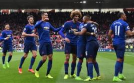 Para pemain Manchester United melakukan selebrasi pada laga lanjutan Liga Inggris di Stadion Riverside, Inggris. Walau main tandang, MU berhasil menang 3-1.