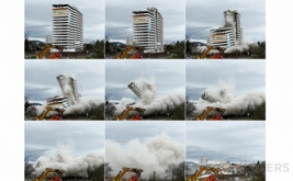 Foto kombinasi detik-detik perobohan Gedung Bonn Center di Bonn, Jerman, Minggu (19/3/2017) waktu setempat. Gedung yang memiliki 18 lantai tersebut dihancurkan dengan bahan peledak. (REUTERS/Thilo Schmuelgen)