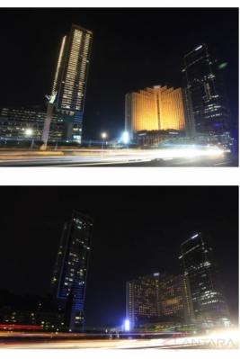 <p>  Peringatan Earth Hour di kawasan Bundaran HI, Jakarta, dan sejumlah daerah di Tanah Air, Sabtu (25/3/2017) malam.</p>