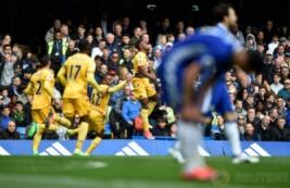 Selebrasi Wilfried Zaha usai mencetak gol pada pertandingan Liga Inggris Chelsea vs Crystal Palace di Stamford Bridge, Sabtu (1/4/2017) malam WIB. Reuters / Hannah McKay