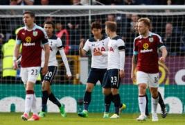 Selebrasi Son Heung Min dengan Christian Eriksen dan Dele Alli usai mencetak gol ke dua  pada pertandingan Burnley vs Tottenham Hotspur di Turf Moor Stadion, Sabtu (1/4/2017) malam WIB.Reuters /Jason Cairnduff